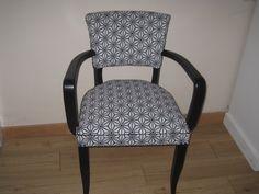 fauteuil bridge ann es 50 r nov tissu graphique noir et blanc sochic objets en vente sur. Black Bedroom Furniture Sets. Home Design Ideas