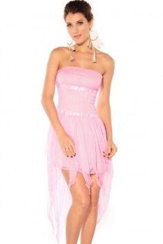 Strapless Chest Wrap Cocktail Long Dress fairy pink Fashion Clothes Online f3de936ec669