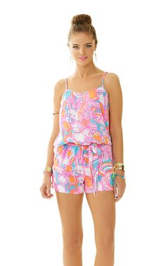 Lilly Pulitzer Deanna Tank Top Romper in Feeling Tanked