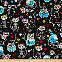 Day of the Dead Kitty by Timeless Treasures