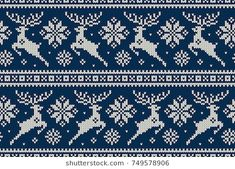 Winter Holiday Seamless Knitting Pattern with Christmas Reindeer and Snowflakes. Knitted Christmas Stockings, Christmas Knitting, Dress Sewing Patterns, Knitting Patterns, Cross Stitching, Cross Stitch Embroidery, Christmas Mandala, Deer Pattern, Stocking Pattern
