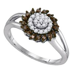 White Gold Women's Round Cognac-brown Color Enhanced Diamond Flower Cluster Ring Cttw Gemstone Carats total weightAll diamonds are natural and conflict-free in origin Round Colored Brown ct. Circle Engagement Rings, Engagement Rings Channel Set, Diamond Cluster Ring, Halo Diamond, Diamond Flower, Black Diamond, Finger, Black Rings, Fashion Rings