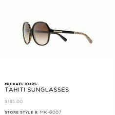 Michael Kors MK 6007 Tahiti Sunglasses -NEW! 100% AUTHENTIC!!  Embrace old-school glamour in these oversized shades. The round shape and subtle tortoise finish evokes a free-spirited, 70's vibe, while a simple logo detail adds Michael Kors signature spin. Style: Round, Wrap, Eye Size: 58, Bridge/Temple Size: 17/135, Polarized- 100% UV. Color: Dark brown.  Condition: New. Comes in sunglass case with cleaning cloth and Michael Kors booklet. I took the sticker tag off so it wouldn't leave…