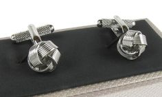 Classic Silver Coloured Knot Cufflinks - Timeless, elegant, and sophisticated in design, these Classic Silver-Coloured Knot Cufflinks will add the finishing touch to any gentleman's formal attire