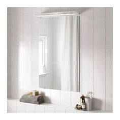GODMORGON Mirror IKEA Mounting hardware is adjustable in depth, leaving room for light cords.