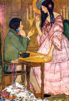 """Emma Florence Harrison, illustration for Christina Rossetti's """"The Queen of Hearts"""".  Those long black curls!!"""