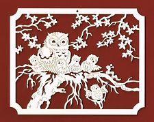 Fensterbild mit Eulen 20 x 15 cm Holz