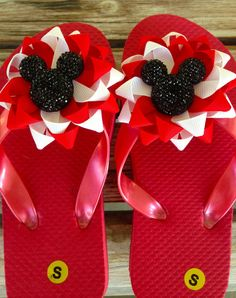 3b0867476 Minnie Mickey flip flops sandals children small by OhSewMagical