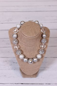 silver sparkly chunky bubblegum necklace by AmazingYouBoutique, $11.50