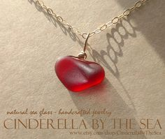 Sea Glass Heart, Red Sea Glass Heart, Heart Shaped Genuine Red Sea Glass Heart Necklace - Shaped by Nature Heart Seaglass in 14 kt GF by CinderellaByTheSea on Etsy Real Gold Jewelry, Sea Glass Jewelry, Glass Beads, Red Sea, How To Make Beads, Precious Metals, Valentine Day Gifts, Heart Shapes, Cinderella