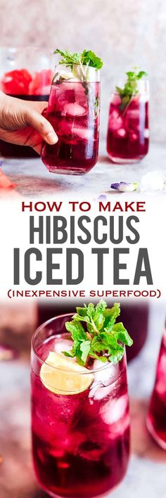 Learn how to make hibiscus tea which has some amazing benefits. Make this with either fresh or dried hibiscus flowers and choose to have it as a hot cup of tea or as hibiscus iced tea because either way it's delicious and really good for you! #summer #drinks #icedtea #hibiscus #superfood