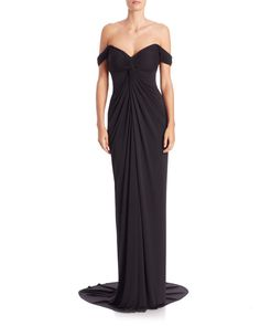 David Meister | Black Draped Jersey Off-the-shoulder Gown | Lyst