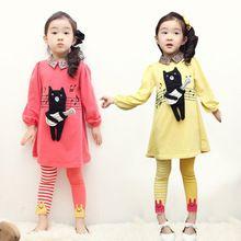New 2014 autumn summer girl clothing set, children t shirts+girl legging,hello Cubs dress+kids pants,baby girl clothes set(China (Mainland))