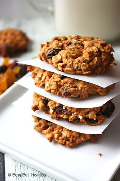 Outrageous Oatmeal Cookies {Healthier Starbucks Copycat} - a healthy and low fat version. With raisins, golden raisins, dried cranberries. Gluten-free.