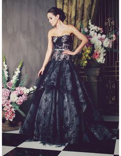 Anna Georgina Aidia Black Wedding Dress -- Classic full tulle skirts with structured bodices, Anna Georgina's 2014 collection is romantic and ultra feminine, putting an emphasis on shape and glamorous detailing.