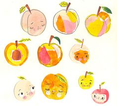 Peaches in my sketchbook