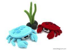 Little Crab amigurumi crochet pattern Crochet Patterns Amigurumi, Crochet Toys, Free Crochet, Knit Crochet, Amigurumi Doll, Crochet Fish, Crochet Animals, Cute Pattern, Slip Stitch