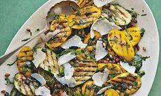 Chargrilled courgette and sorrelsalad.