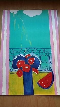 Luis Amer, Barcelona ( 1943 ). Título: Jarrón de flores frente a la ventana. Litografía sobre papel firmada a mano. Fechada en 2002. Ejemplar: 19/25. Medidas: 83 x 56 cm. Precio: 60€.