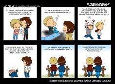 Jared on Jensen Supernatural Supernatural Fans, Castiel, Supernatural Cartoon, Supernatural Drawings, Jensen Ackles, Jared And Jensen, Winchester Boys, Winchester Brothers, Misha Collins