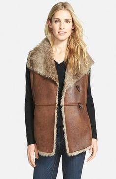 Ellen Tracy Toggle Closure Faux Shearling Vest (Regular & Petite) available at #Nordstrom