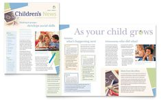 Child Care And Preschool Newsletter Design Template By StockLayouts
