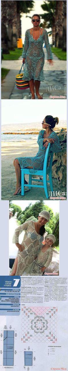 Chorrilho de ideias: Vestido praia turquesa ou branco em crochet com es...