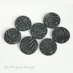 Polymer clay disks, 7 Black silver Round flat charms, Ethnic earring beads, Thin coin charms, Flat boho dangles, Geometric bead set by JBDRusticOrganic on Etsy