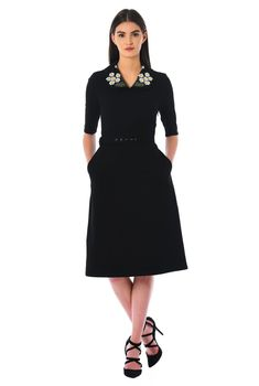 b33c561e12c Our soft cotton knit dress is designed to flatter your figure with a floral  embellished Peter Pan collar and a removable self belt atop the lightly  flared ...