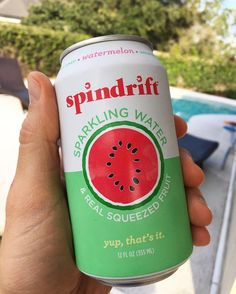 """Being a fizzy water fiend, I'm happy to have found an option that is actually all natural. Instead of just adding """"natural flavors"""" @spindriftfresh uses a touch of fresh, real fruit juice. The total carb/sugar count is only 3g per can (compare that to nearly 50g in a conventional soda) and the flavor is great. The watermelon flavor tastes like that last bite on a slice of watermelon and is crisp and refreshing. I haven't tried all the other flavors, but I will!  #spindrift #sodawater #soda…"""