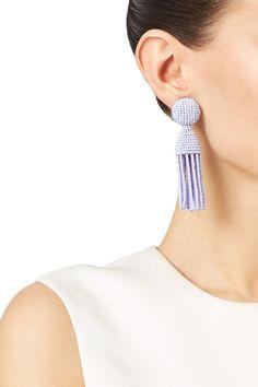 Lilac Short Tassel Earrings by Oscar de la Renta for $50 | Rent the Runway