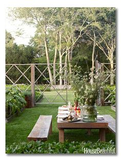 garden fence rustic table sits in the center of landscape designer lisa bynons vegetable and cutting garden in southampton new york. love the graphic cedar deer fence enclosing the garden. Outdoor Rooms, Outdoor Dining, Outdoor Gardens, Outdoor Decor, Dining Area, Dining Table, Table Bench, Outdoor Tables, Rustic Outdoor