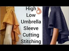 High Low Umbrella Sleeve Cutting And Stitching Tutorial Neck Designs For Suits, Sleeves Designs For Dresses, Dress Neck Designs, Sleeve Designs, Blouse Designs, Full Sleeves Design, Kurti Sleeves Design, Kurta Neck Design, Simple Blouse Pattern