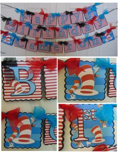 Dr. Seuss Happy Birthday Banner Cat in the by ASweetCelebration