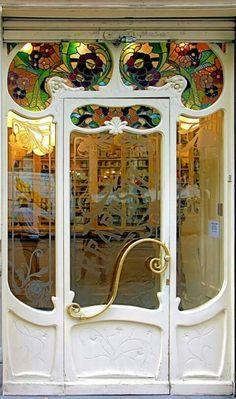 Art Nouveau Drugstore Entry Door at Villarroel 053 b, Barcelona, Spain