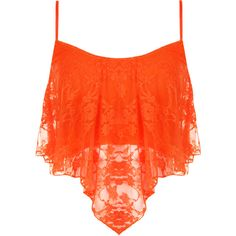 Natalia Lace Camisole Crop Top (€12) ❤ liked on Polyvore featuring tops, shirts, crop tops, tank tops, fluorescent orange, cami crop top, neon crop top, lace top, lace crop tops and floral lace top