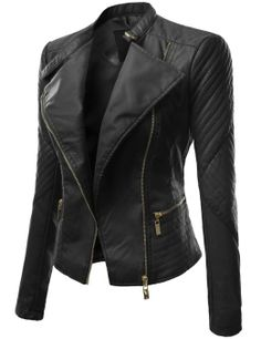 Black Slimming Womens Turndown Collar PU Leather Jacket | Clothes ...