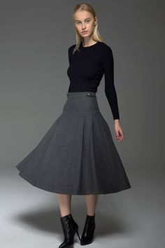 A-Line Grey Skirt  Pleated Warm Wool Winter Skirt with by YL1dress