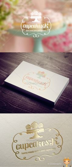 Pretty business cards with gold foil stamp