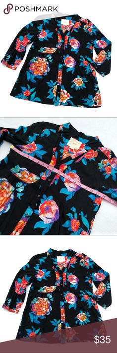 Anthropologie Maeve floral woodland walk blouse Anthro Maeve button up top. The multi lot floral print pops on this black blouse. Ever so slightly pilly on edges, see photos. Anthropologie Tops Button Down Shirts