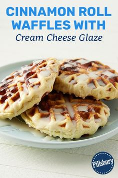 Roll Waffles with Cream Cheese Glaze Make weekends a little sweeter with these easy cinnamon roll waffles--made in your waffle iron!Make weekends a little sweeter with these easy cinnamon roll waffles--made in your waffle iron! Breakfast Dishes, Breakfast Recipes, Brunch Recipes, Dessert Recipes, Cinnamon Roll Waffles, Cinnamon Rolls Waffle Maker, Cinnamon Roll Casserole, Waffle Iron Recipes, Profiteroles