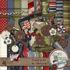 $5.99 - Proud To Be An American digital scrapbook kit - includes all branches of the military