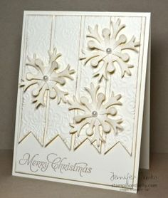 #SU Elegant Snowflake, Embossed Banner Flags Monochromatic Christmas Card