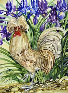 Buff Laced Polish Chicken by HouseofChabrier on DeviantArt Chicken Crafts, Chicken Art, Chicken Houses, Rooster Painting, Rooster Art, Chickens And Roosters, Pet Chickens, Easy Paintings, Beautiful Paintings