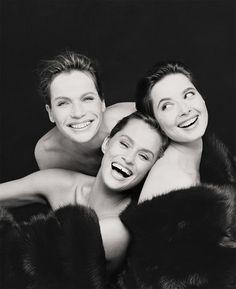 Veruschka, Lauren Hutton and Isabella Rossellini, New York City, Vogue Italia, December, 1988 Photography Steven Meisel