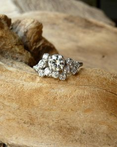 Moissanite engagement ring Vintage Unique diamond Cluster ring white gold wedding Delicate Bridal set Promise Anniversary Gift for women - Fine Jewelry Ideas Diamond Solitaire Rings, Diamond Cluster Ring, Diamond Engagement Rings, Oval Diamond, Vintage Diamond, Auriga Constellation, Ringe Gold, Star Cluster, Unique Rings