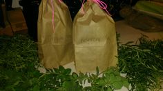 Herbs are strung up and bagged...placing them in the garage (warm and dark). See ya in a couple weeks!