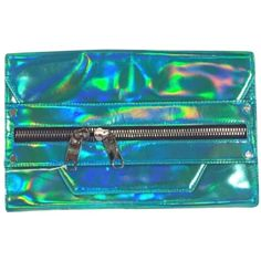 Pre-owned Milly Hologram Demi Aqua Clutch (€195) ❤ liked on Polyvore featuring bags, handbags, clutches, aqua, leather clutches, blue leather purse, oversized purses, oversized clutches and blue leather handbags