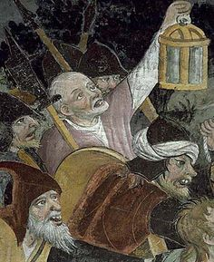 Detail from a fresco of the Arrest of Christ in the Sanctuary Notre-Dame des Fontaines, 1440-1450