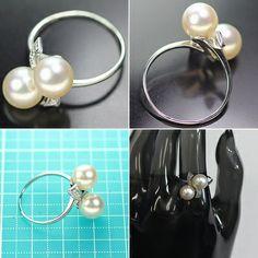 ミキモト、真珠の指輪。K14WG, 3.9g, シングルカットのダイヤ